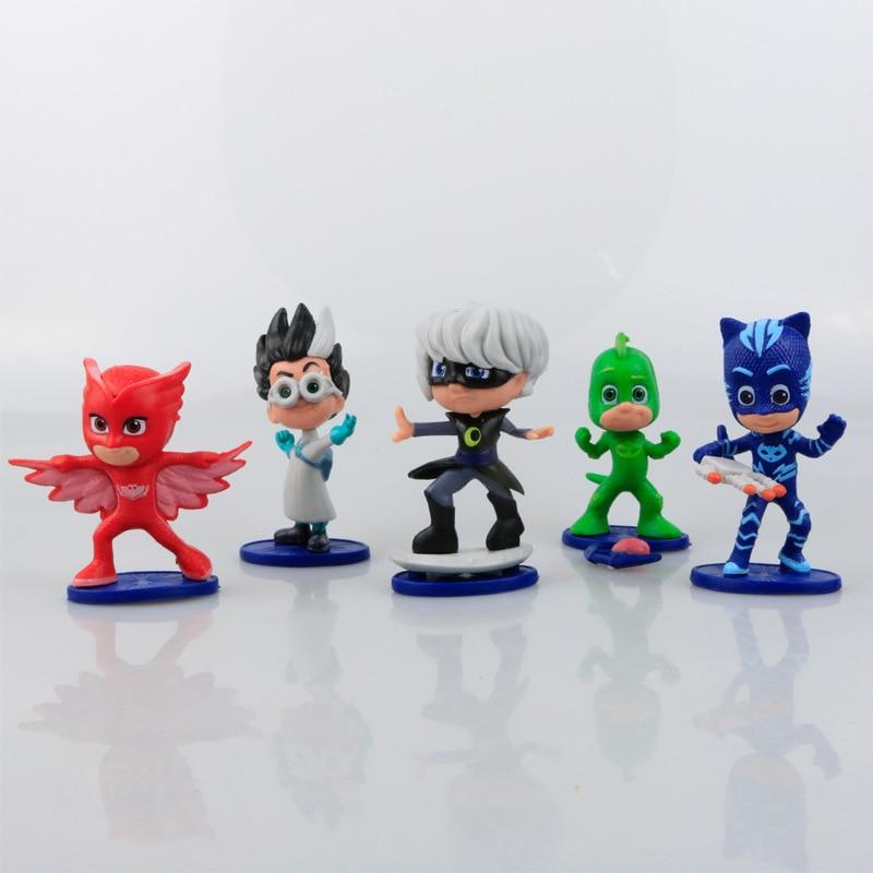 5pcs/set 7-8cm Pjmasks Characters Catboy Owlette Gekko Cloak Action Figure Toys Boy Birthday Gift Plastic Dolls send Necklace