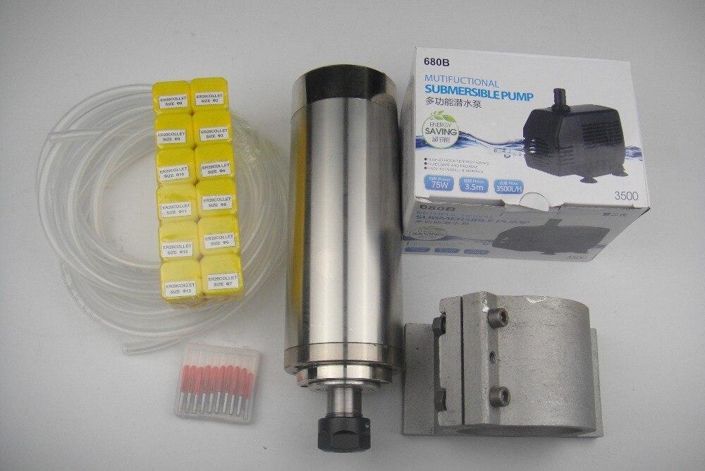Фрезерный шпиндель с ЧПУ ER20 2,2 кВт шпиндель водяного охлаждения + 1 водяной насос + 1 водопровод + поддержка шпинделя + ER20 цанги + ЧПУ гравировальные Биты