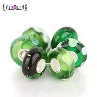 Verde 6 Pezzi In Un Sacchetto In Vetro di Murano Fascio Bead 100% 925 Sterling Silver Charm Bead Fit Charms Pandora Europeo braccialetto