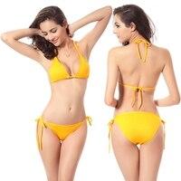Heißer Verkauf Nicht veraltet Bademode 2017 Förderung Billig Abnehmbare Polsterung Sexy Strappy Krawatten string Bikini Dropshipping