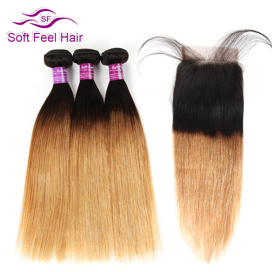 Soft Feel Hair Ombre Brazilian Straight Hair Bundles With Closure Remy T1B 27 Honey Blonde Human