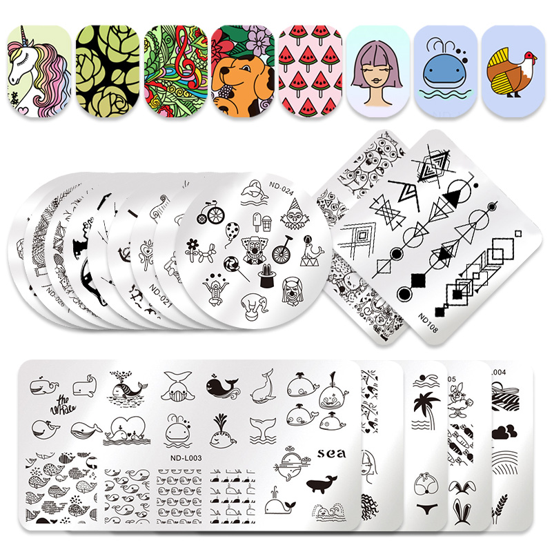 NICOLE DIARY Nail Stamping Plates Valentine's Animal Plant Geometry Flower  Nail Art Stamp Template Image Stamping Plate Stencil-in Nail Art Templates