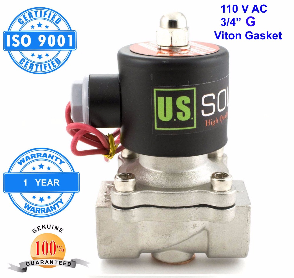 U.S. Solid 3/4 Stainless Steel Electric Solenoid Valve 110 V AC G Normally Closed diesel kerosine alcohol Air Gas Oil Water u s solid 3 4 stainless steel electric solenoid valve 110 v ac g normally closed diesel kerosine alcohol air gas oil water