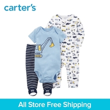 3pcs clothing sets construction print bodysuit stripes footed pants Carter's baby Boy soft cotton Spring & Fall 126H334