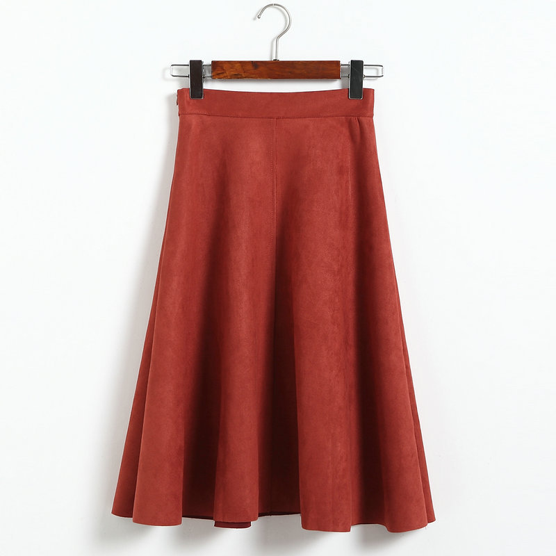Vintage Pleated Suede High Waist Midi A Line Flare Skirt
