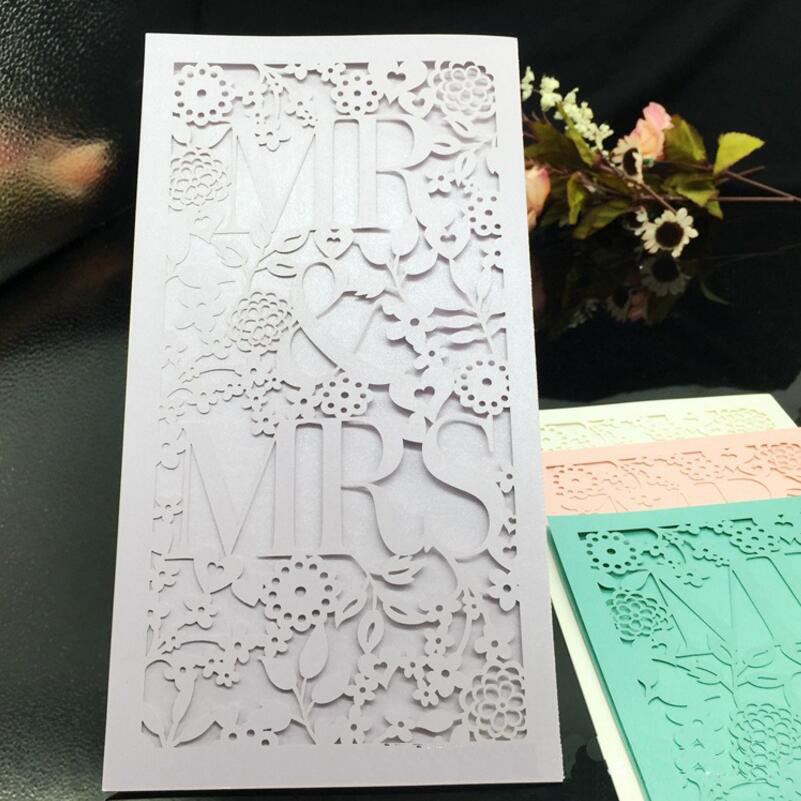 50pcs/pack Mr & Mrs Laser Cut Luxury Flora Wedding Invitations Card ...