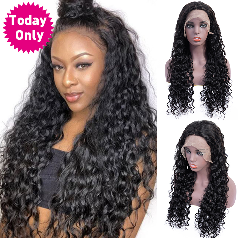 TODAYONLY Brazilian Water Wave Wig 250 Density Lace Wig Short Lace Front Human Hair Wigs For