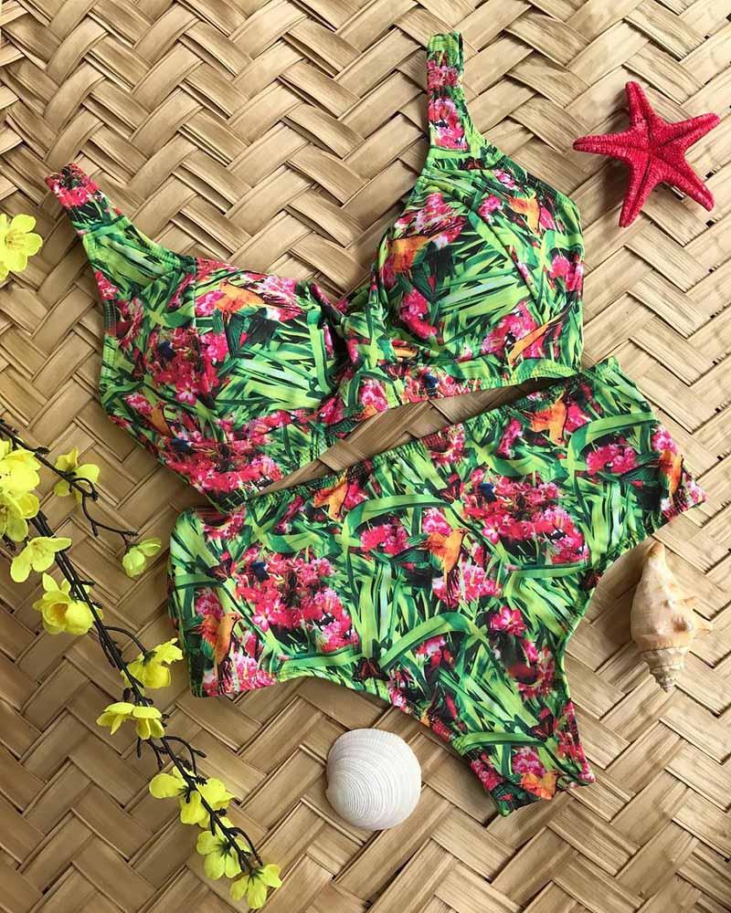 HTB1JVrqSQzoK1RjSZFlq6yi4VXaG 2019 New Bikini Floral Ruffled Bikini Set Women V-neck High Waist Two Piece Swimsuit Girl Beach Bathing Suit Swimwear Biquinis