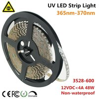 UnvarySam Ultraviolet LED Strip 365nm 370nm 375NM 380NM 385NM 5M 12V SMD3528 600LEDs UV Ultraviolet For