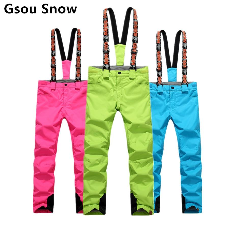 Bibs Women Snowboarding Pants Ski Trousers Waterproof Snow Pant outdoor Riding Hiking Black Red Blue Pink Purple Gsou Snow