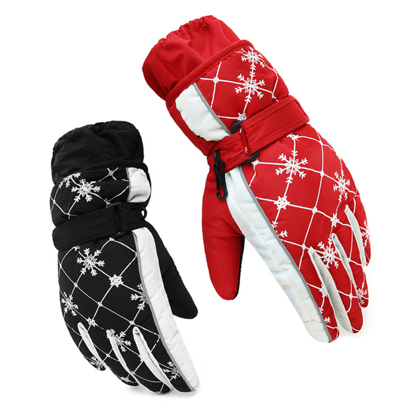 Snowflake Printed Waterproof Winter Hiking Skiing Gloves Women Thick Warm Fleece Outdoor Windproof Function Motocross Glove