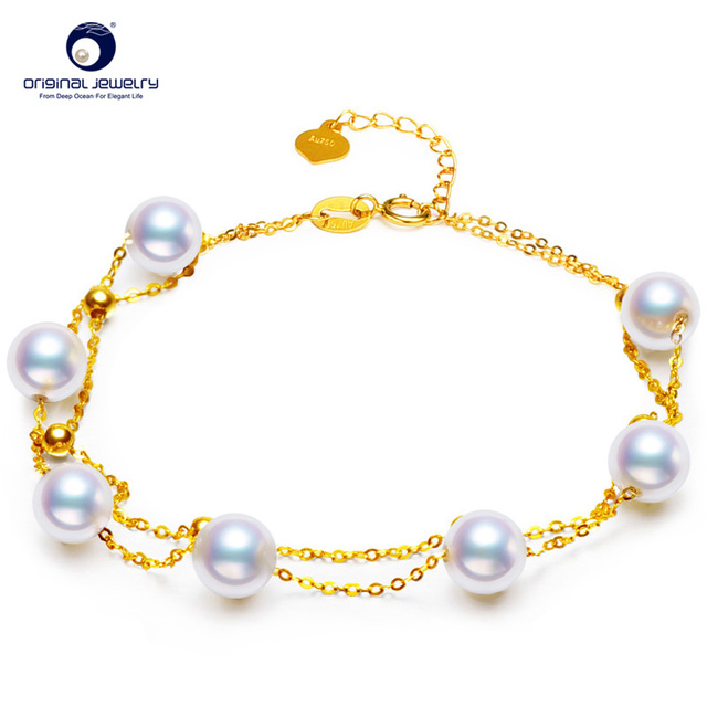 [YS] Fine Jewelry 6-6.5mm Akoya Seawater Pearl Jewelry White 18k Gold Fashion Bracelet double-layer Hand Ring Free Shipping