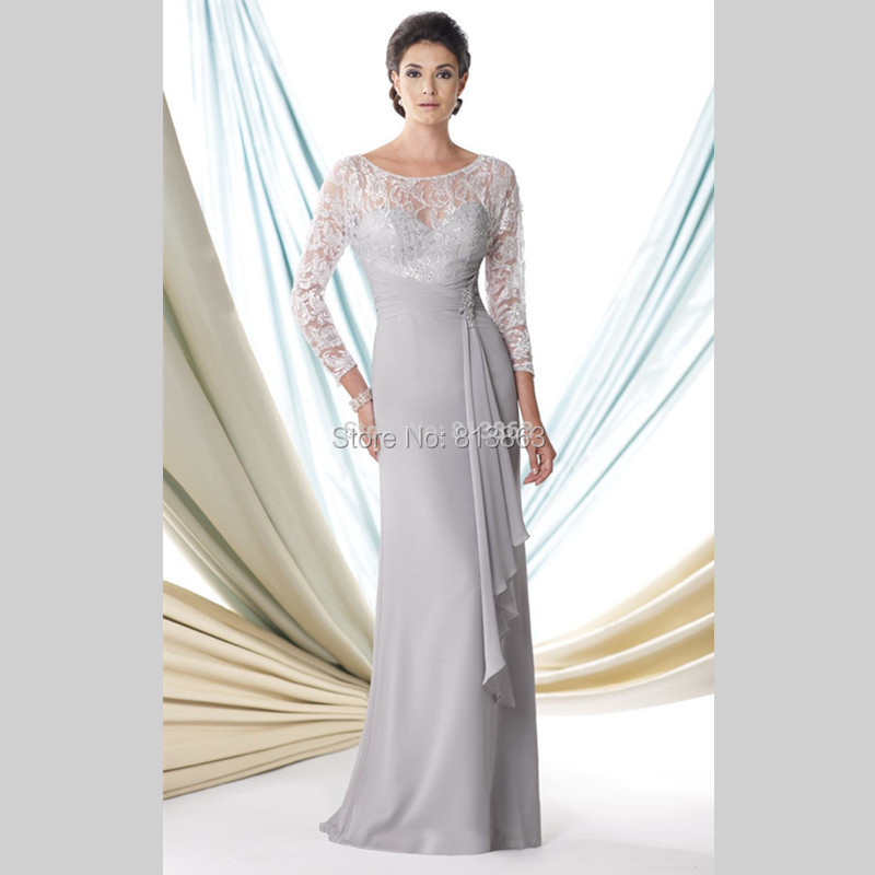 Silver Grey 3 4 Sleeves Long Evening Gown Mother Of The
