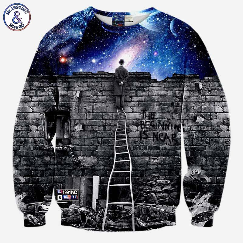 2017 Mr.1991INC New fashion Men/womens sweatshirts 3d print A person watching space Meteor shower casual galaxy hoodies
