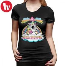 Satan Girl T-Shirt Unicorn Hail Death Metal Rainbown T Shirt O Neck Trendy Women tshirt Graphic Orange Ladies Tee
