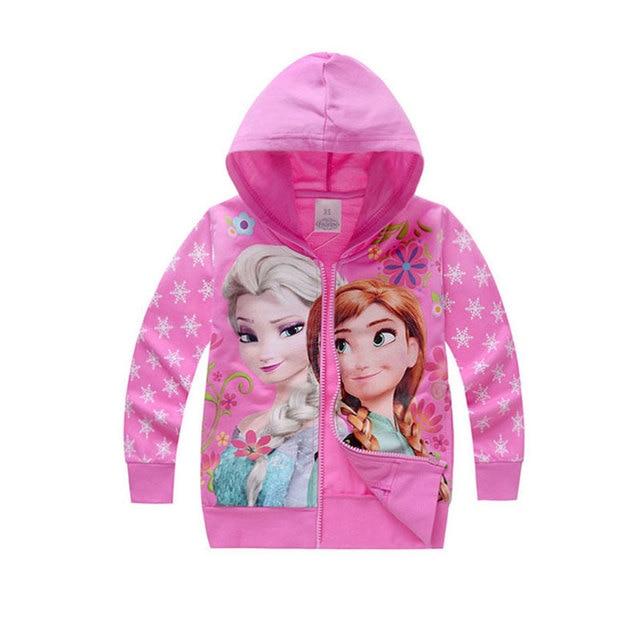 2016 muchachas Del Resorte de la ropa de los cabritos elsa anna chaqueta ocasional de los deportes con capucha para niñas ropa de los niños encapuchados abrigos de marca sudaderas con capucha