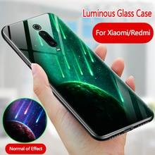 Luminous Glass Case For Xiaomi MI 9T Pro 9 8 SE A1 A2 back Cover For