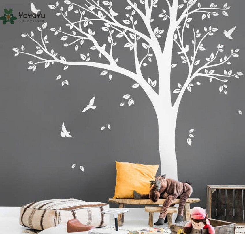 Sticker Mural vinyle autocollant pépinière grand blanc arbre oiseau mur Art décor personnalisé couleur murale enfant chambre papier peint affiche WW343