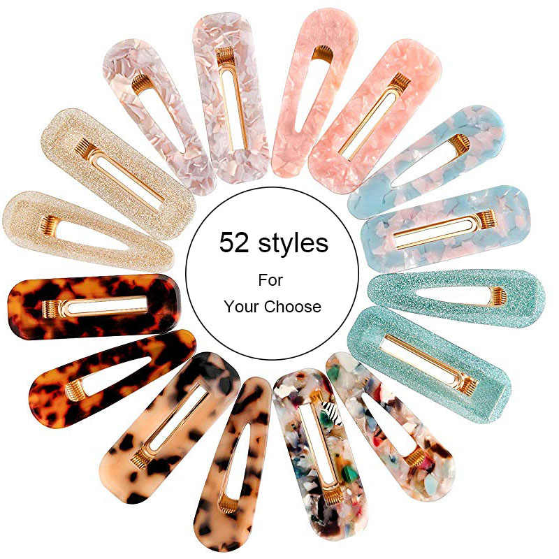 M MISM Hair Clips For Women Hairpins Hollow Waterdrop Acrylic barrettes Shiny Tin Foil Sequins Hairpin Hair Clip