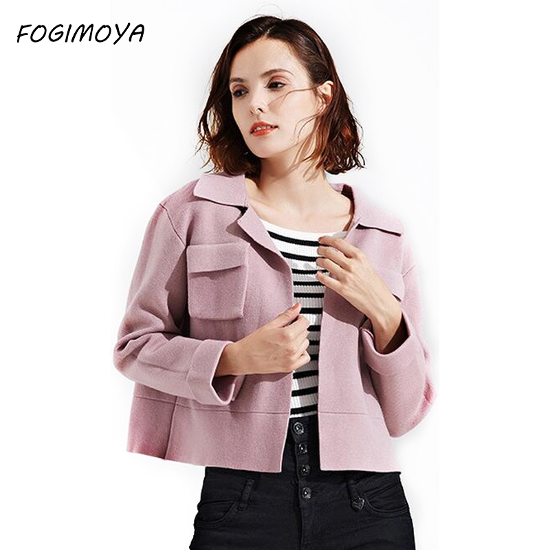 FOGIMOYA Jacket Women Autumn Winter Fashion 2017 Solid Knitted Sweater Open Short Coat Women's Full Sleeve Pockets Jacket New
