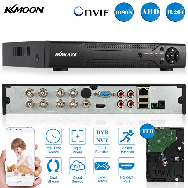 KKmoon 8CH Full 1080N/720P AHD DVR NVR + 1TB Seagate HDD Onvif 8CH AHD DVR Video Recorder PnP for CCTV Security Camera System