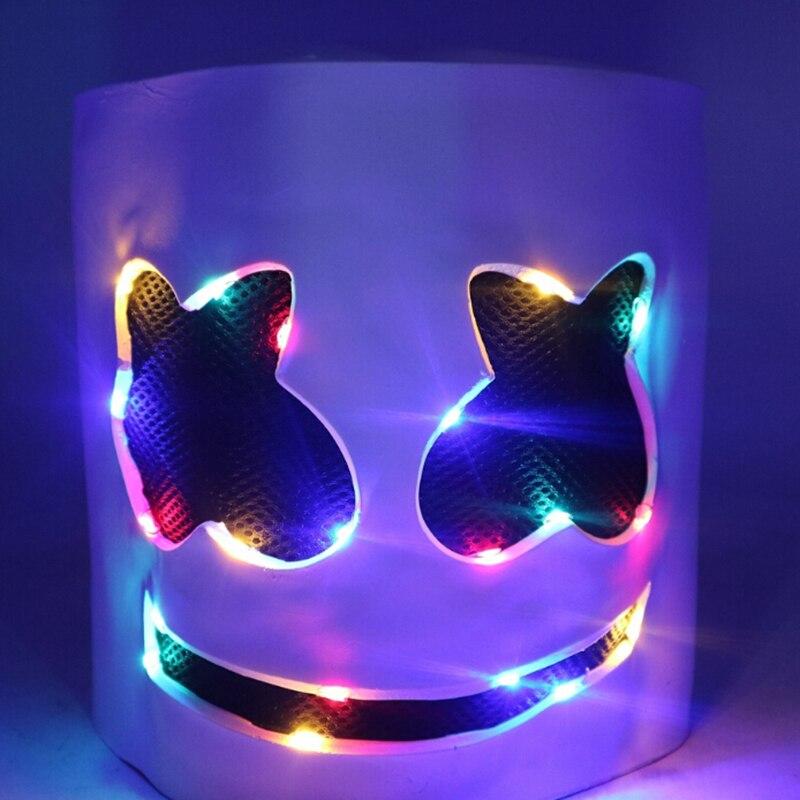 Disco DJ Mask Marshmello Helmets With LED Novelty Lighting Kids Prom Props head LED Marshmallow Mask Party casco marshmello led