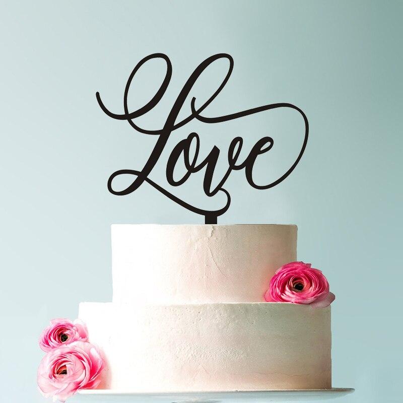 Unique Calligraphy Wedding Cake Topper Love Decoration Modern Scripted Decor
