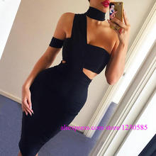 2016 White/Gray/Black Halter Off The Shoulder Bandage Dress Sexy Over Hip Stretchy Vestidos Celebrity Style Dresses