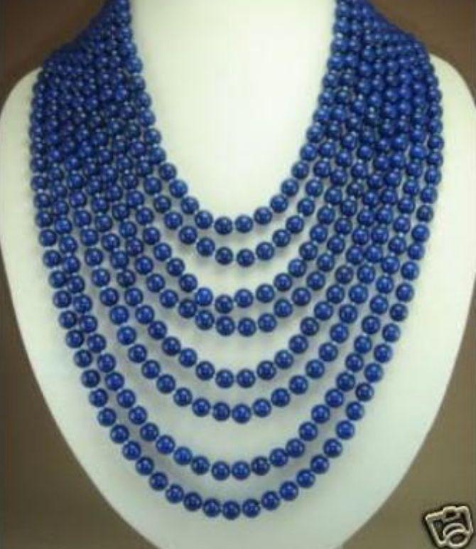 8 rangées de Charme 6mm bleu lapis lazuli perles collier