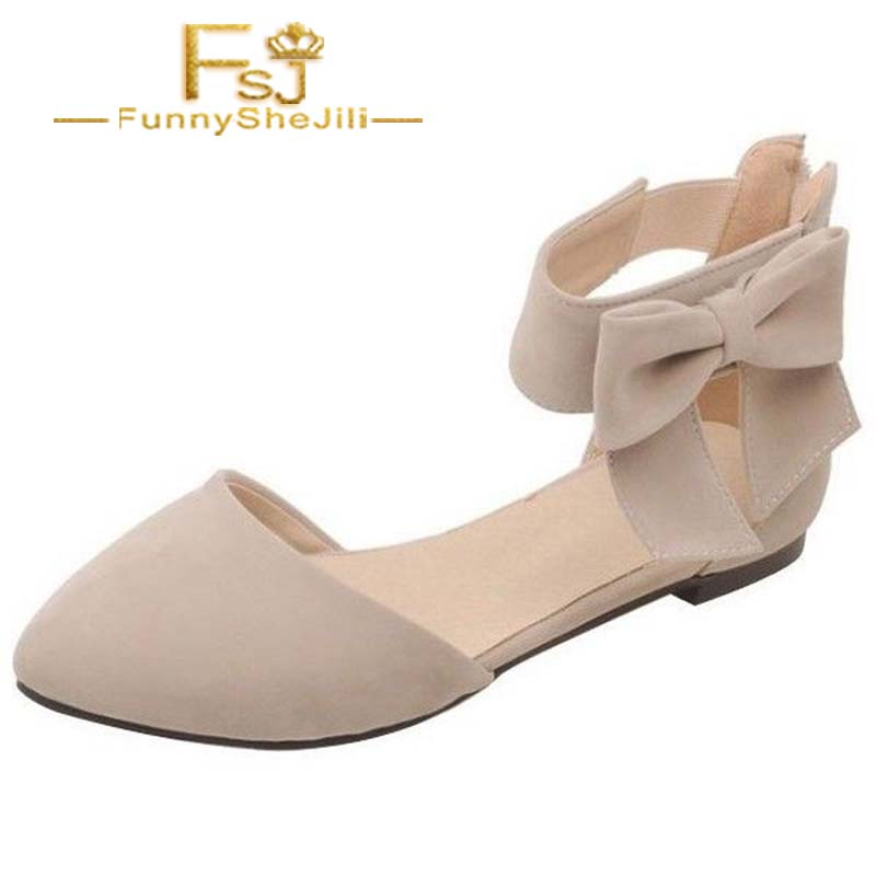 Shoes Women's Flats Objective Womens Nude Ankle Strap Bow Pointed Toe Comfortable Flats Spring Autumn Incomparable Noble Attractive Generous Fsj Elegant Sexy Professional Design