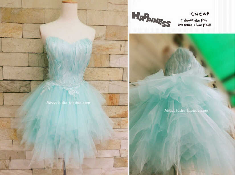Detail feedback questions about blue feathers short mini prom