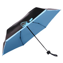 Ultralight Mini Folding umbrella Small black UV protection Sun Umbrella Fold 5 times