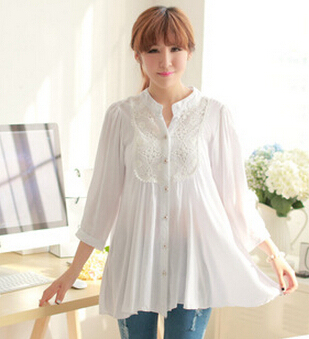 US $15 96 |2015 spring Autumn Maternity Blouses white cotton tops plus size  Clothing Cute Shirt For Pregnant Women blusa gestante,D382-in Blouses &
