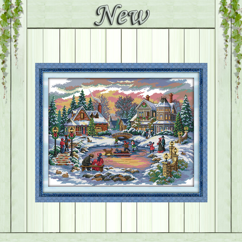 Treasure time winter castle painting counted printed on canvas DMC 14CT 11CT chinese Cross Stitch Needlework Set Embroidery kitsTreasure time winter castle painting counted printed on canvas DMC 14CT 11CT chinese Cross Stitch Needlework Set Embroidery kits