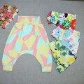 Tinta Floral Calças Harém Calças de Algodão Crianças Da Menina Da Criança Do Bebê PP Calças Calças Casuais para 2017 Leggings Primavera Meninas Roupas