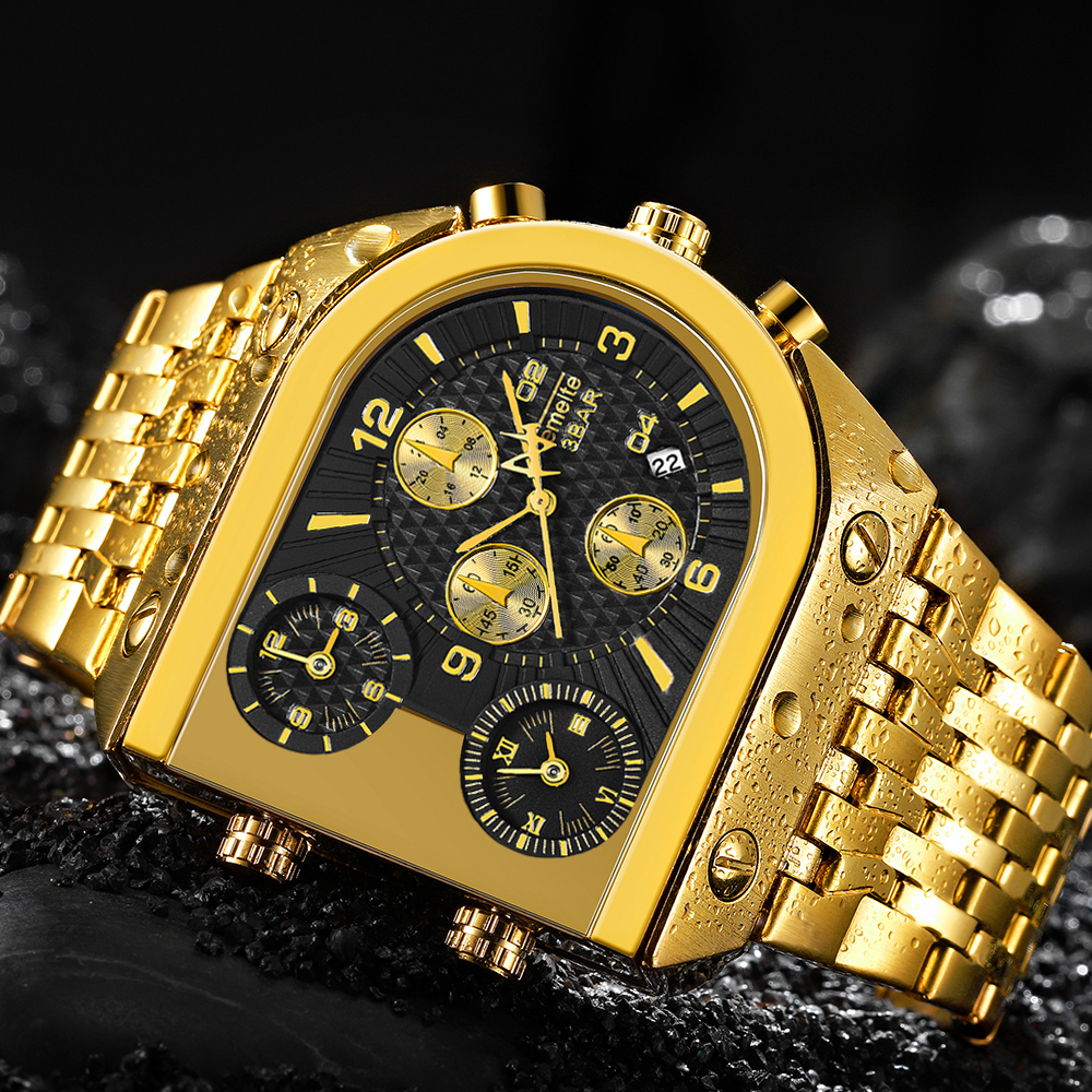 Marka oryginalny niepowtarzalny Design kwadratowy męski zegarek szeroki Big Dial zegarek kwarcowy na co dzień złoto męskie zegarki sportowe duży zegar Whatch w Zegarki kwarcowe od Zegarki na  Grupa 1