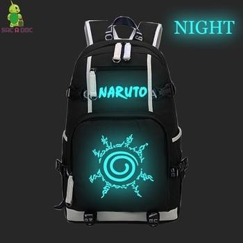 Anime Naruto Seal/Sharingan Luminous Backpack Men Women Laptop Backpack Naruto Sasuke School Bags for Teenagers Travel Rucksack