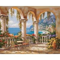 Hand Painted contemporary decorative art coastal landscapes Oil painting on canvas Medi Archway wall decor High quality