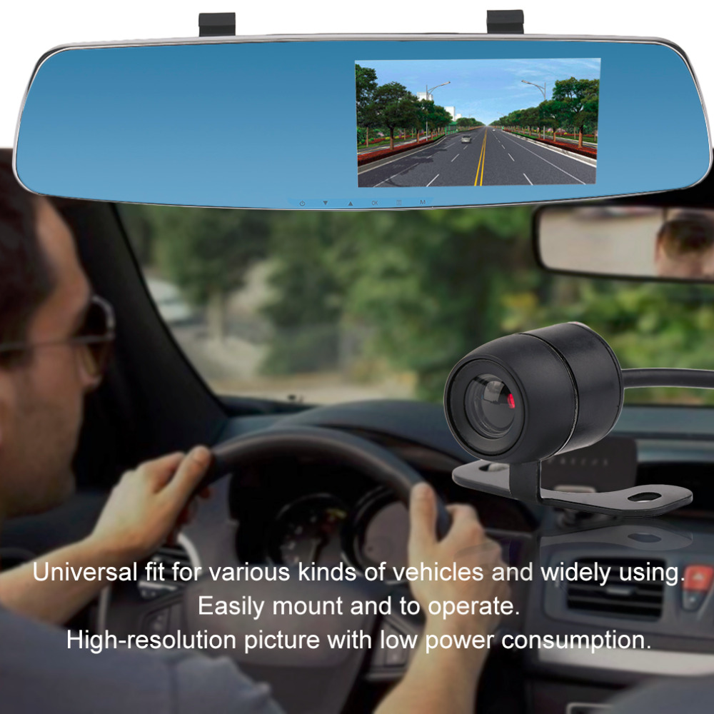 Universal L707 Front And Back Double Recorded High Definition 170 Degree Wide-Angle Car Rearview Recorder Review Mirror DVR 180 16 9 fast fold front and rear projection screen back