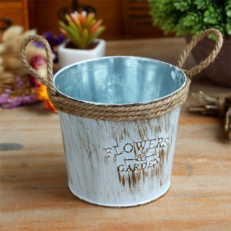 Do Old Metal Keg Flower Pot Vintage Iron Jute Rope Hanging Balcony Plant Planter Decor Garden Flower Bucket Holder 8CM/11CM Sale