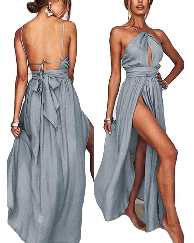 Hitmebox 2018 New Summer Sexy Women's Spaghetti Strap Halter Backless Bowtie Cutout High Split Evening Party Maxi Long Dress