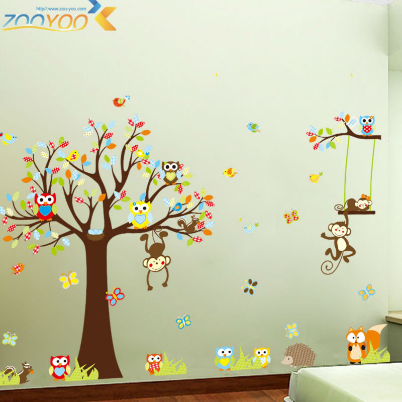 Cute Monkeys Playing On Trees Wall Stickers For Kids Rooms