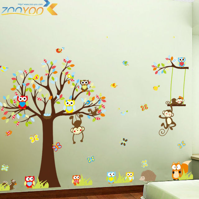 Cute Monkeys Playing On Trees Wall Stickers For Kids Rooms Decorative  Adesivo De Parede Removable Pvc Part 59