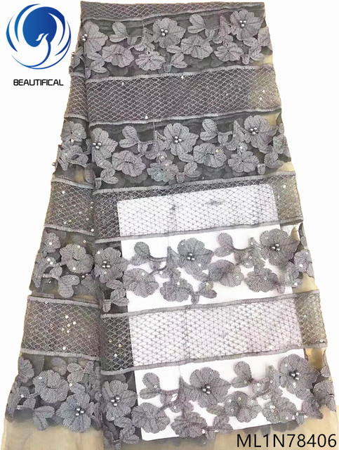 Beautifical grey sequins lace african net lace fabric glitter lace fabric with sequins and beads for wedding hot sales ML1N784