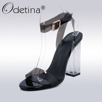 Odetina 2017 New Fashion Transparent Women Sandals Ankle Strap Square Heel High Heels PVC Clear Crystal