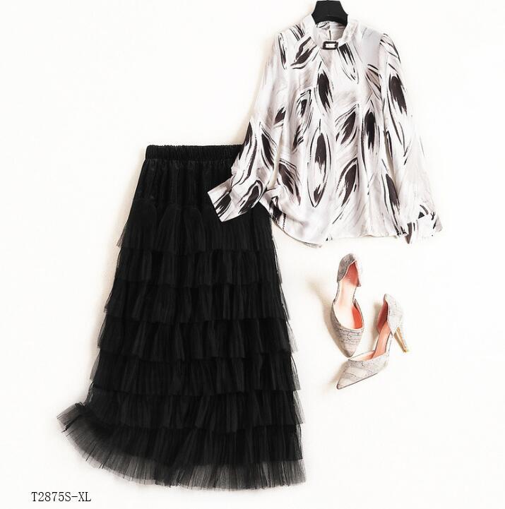 Patchwork Nouveautés Décontracté T2875 Blouse Style Femmes Jupe Mode Impression Vêtements Color Photo Maille Européen Hiver 2019 Costume Printemps EwvHqw