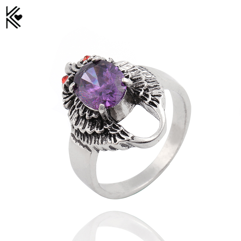 Fashion Purple Crystal Rings Bijoux Femme Antique Silver Mosaic Crystal Wedding Ring Vintage Jewelry 2017 Zircon Crystal Rings