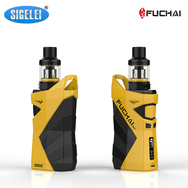 Preorder Sigelei Fuchai r7 kit Box Mod Kit Zinc alloy +Plastic with T4 2.5ml Tank SS303+ transparent glass Electronic Cigarette sigelei fuchai 213 mod newest 100