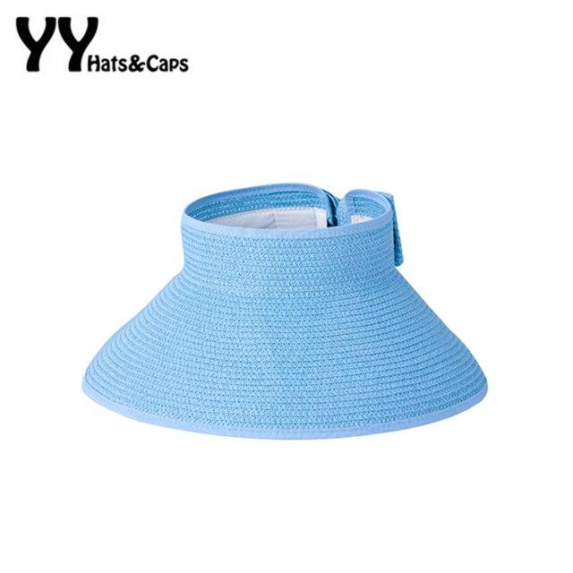 Summer Fashion Bowknot Sun Visor Hat Lady Foldable Roll Up Beach Sunhats  Women Large Brim Hat Ladies Straw Hats Folding Sun Cap e6329a2193c