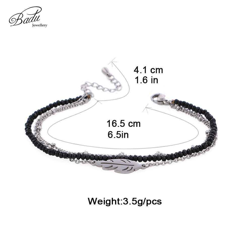 Badu 3 Layered Chain Bracelet for Women Stainless Steel Leaf Pendant Bracelets Crystal Beads Delicate Party Jewelry Wholesale in Chain Link Bracelets from Jewelry Accessories